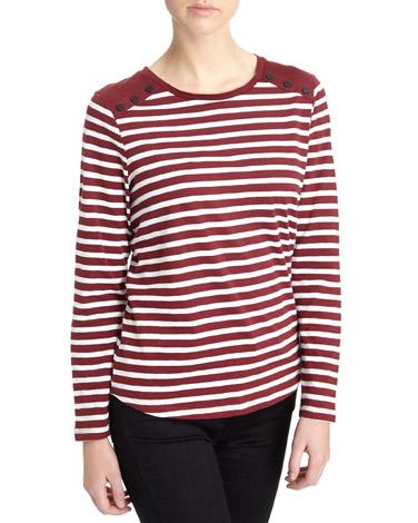 burgundyLong-Sleeved Button T-Shirt