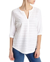 white Schiffly Grandad Long-Sleeved Top