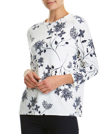 winter-white Print Textured Top