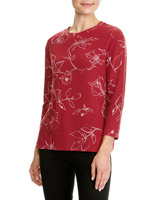 red Print Textured Top