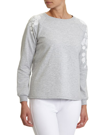 grey-marl Embroidered Shoulder Sweatshirt