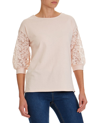 blush Floral Lace Sleeve Top