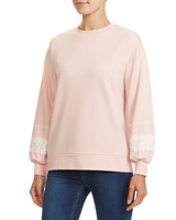 blush Lace Trim Sweatshirt