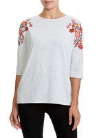 grey Embroidery Shoulder Three-Quarter Sleeve Top