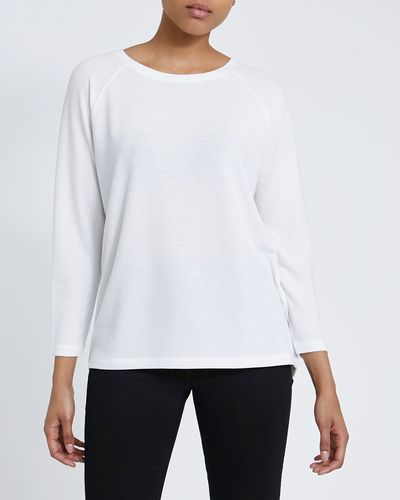 Solid Textured Long-Sleeved Top