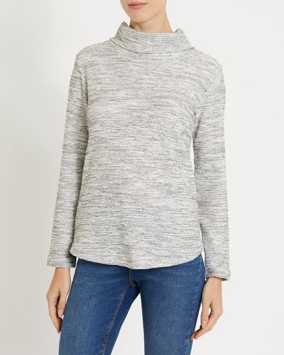 Funnel Neck Textured Fabric Top