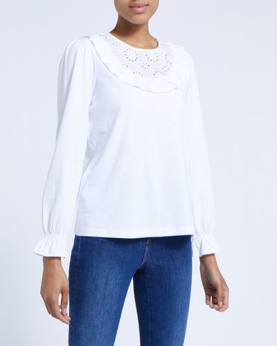 Broderie Ruffle Long-Sleeved Top thumbnail