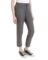charcoal Linen Blend Trousers