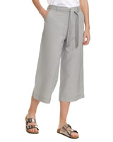 grey Wide Linen Cropped Trousers