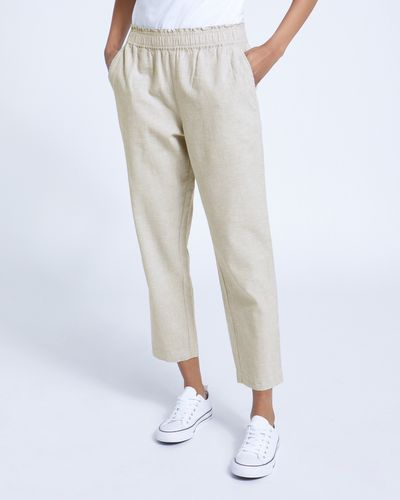 Pull On Chambray Linen Trousers