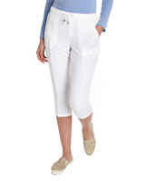 white Linen Crop Trousers