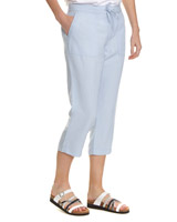 light-blue Linen Blend Crop Trousers