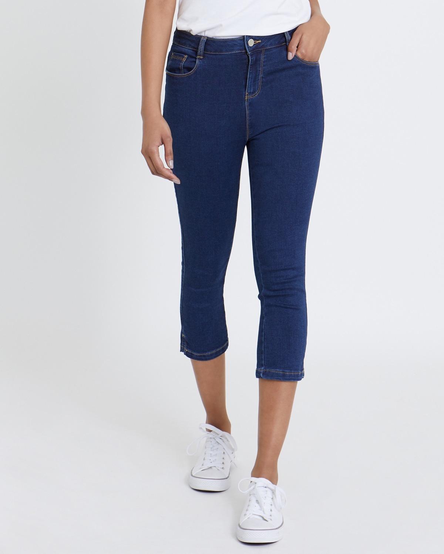 Knitted Denim Crop Jeans