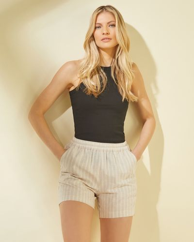 Stripe Chambray Linen Shorts