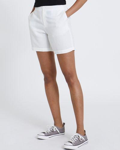 Button Front Linen Shorts
