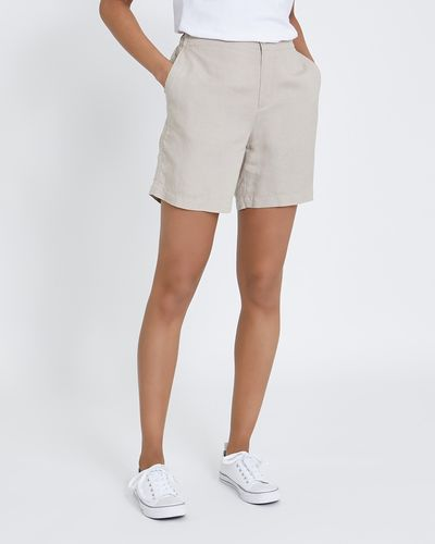 Button Front Linen Shorts