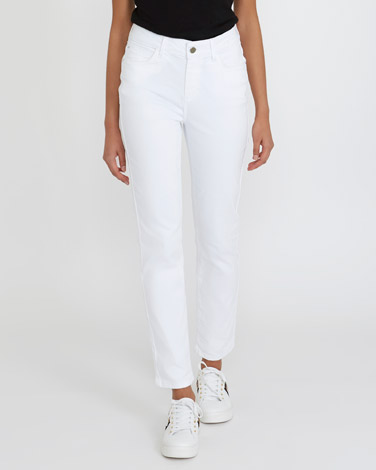 white Kate Mid Rise Straight Fit Jeans