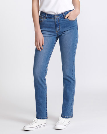 light-wash Kate Mid Rise Straight Leg Jeans