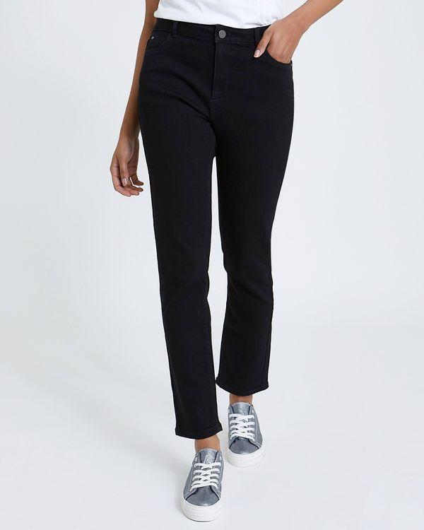 Kate Straight Black Mid Rise Jeans
