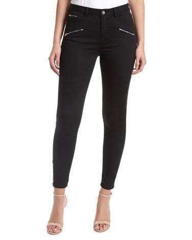 blackJessie Mid Rise Moto Skinny Fit Jeans