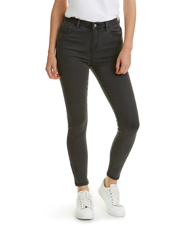 grey Jessie Mid Rise Skinny Fit Jeans