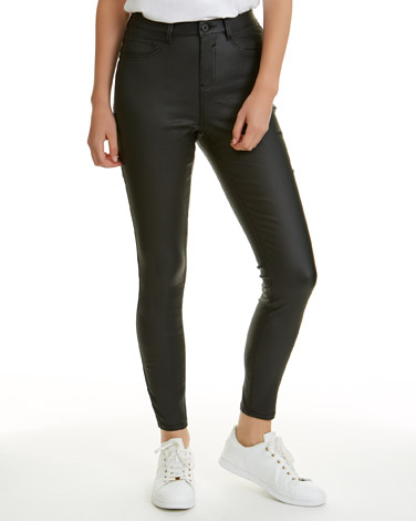 blackMid Rise Coated Skinny Fit Jessie Jeans