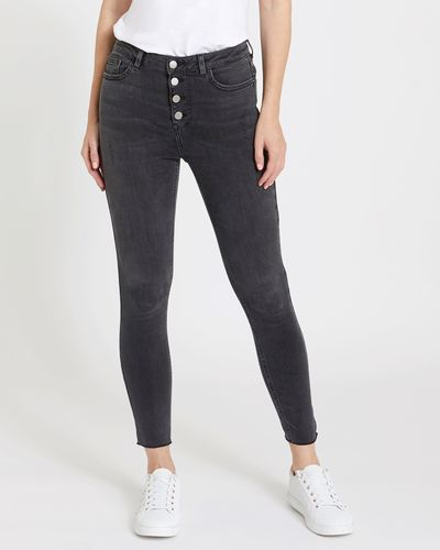 Skinny Fit Button Front Vintage Jeans