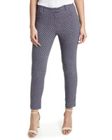 navy Printed Stretch Skinny Trousers