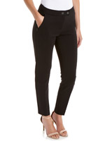 black Zip Pocket Compact Ponte Trousers