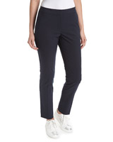 navy Elastic Back Textured Trousers