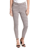 grey Printed Stretch Skinny Trousers
