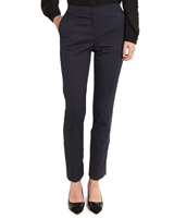 navy Elasticated Back Check Trousers