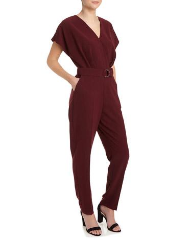 burgundyKimono Sleeve Belted Jumpsuit