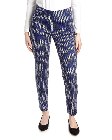 navyPrinted Stretch Skinny Trousers
