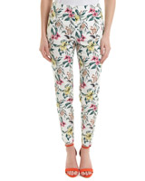 ivory Printed Stretch Skinny Trousers