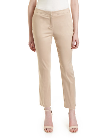 stone Cotton-Rich Ankle Grazer Trousers