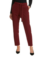 burgundy Tie Belt Tapered Trousers