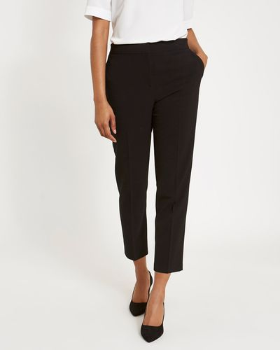 Black Slim Leg Elastic Back Trousers