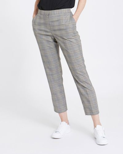 Check Elastic Back Slim Leg Trousers