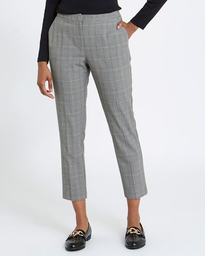 Check Slim-Leg Elastic Back Trousers