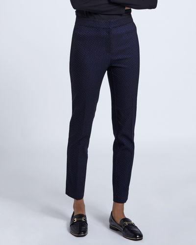 Navy Jacquard Slim Leg Trouser
