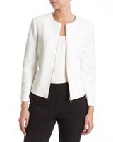 ivory Textured Zip Front Jacket