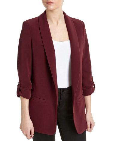 burgundyEdge To Edge Roll Sleeve Jacket