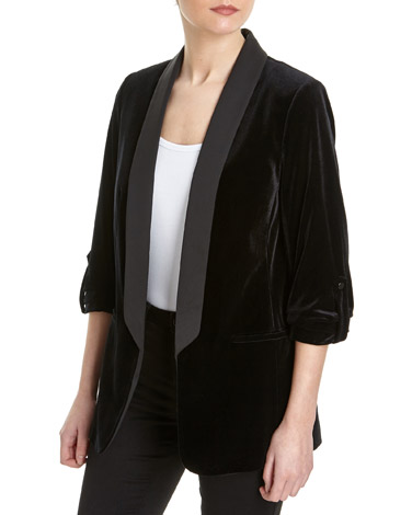 blackVelvet Ruched Sleeve Jacket