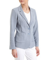 light-blue Textured Button Front Blazer