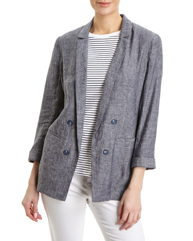navy Linen Blend Double Breasted Jacket