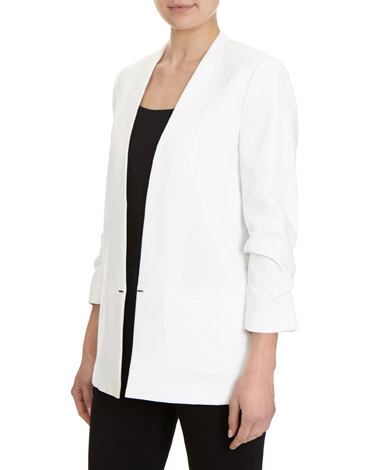 ivory Crepe Edge To Edge Jacket