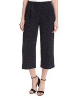 navy---ivory Wide Leg Printed Cropped Trousers