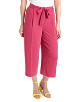 pink Wide Leg Cropped Trousers