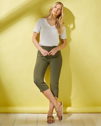 Pull On Stretch Crop Trousers thumbnail